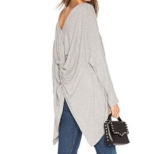 1.STATE Variegated Rib Knot Back Grey Size S